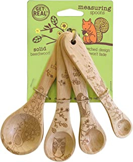 Talisman Designs 1201 Laser Etched with Woodland Design Beechwood Measuring Spoons, Set of 4