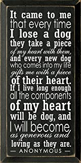 Wooden Dog Sign - It Came to Me That Every Time I Lose a Dog. (Old Black)