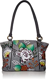 Anna by Anuschka Handpainted Leather Large Organizer Tote, Denim Floral Paisley