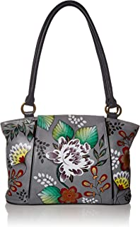 Handpainted Leather Large Organizer Tote, Denim Floral Paisley