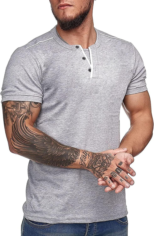 Men's Casual Henley Shirt Slim-Fit T Shirt Short-Sleeve Workout Muscle Tops