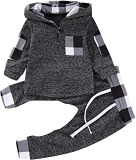 Simplee kids Baby Boys and Girls Winter Fall Plaid Hoodie and Pants Clothes Set 0-3Years