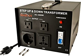 Simran Ac-3000 Voltage Power Converter Step up Down Transformer 110 Volt 220 Volt, 3000 Watt, Black