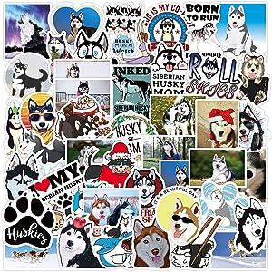 50 PCS Cute Siberian Husky Dog Puppy Vinyl Stickers Decals Waterproof for Vehicles Water Bottles Cars Windows Wall Laptop Scrapbooking Hydroflask Firefighters Door Tumblers Phone Planner Kids Girls