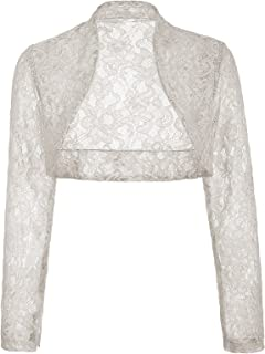 Women's Long Sleeve Floral Lace Shrug Bolero Cardigan JS49