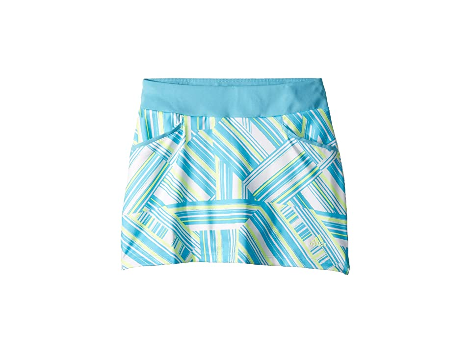 Image of adidas Golf Kids Solid Back Pleated Skort (Big Kids) (Bright Cyan) Girl's Skort