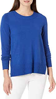 Lark & Ro Jersey de Manga Larga con Cuello Redondo y Abertura Lateral. Suéter para Mujer