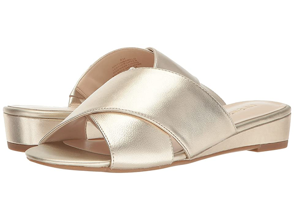 Nine West Tumbarelo Slide Sandal (Platino Soft Metallic Nappa) Women's Sandals