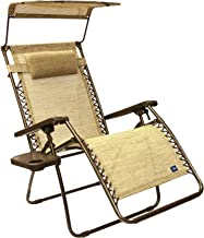 Bliss Hammocks Zero Gravity Chair with Canopy and Side Tray, Sand, 31