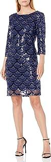 Sangria Women's 3/4 Sleeve Sequin Dress with Scallp Design