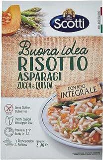 Riso Scotti - Risotto Integrale Asparagi, Zucca e Quinoa - Riso Integrale Senza Glutine - 210 gr