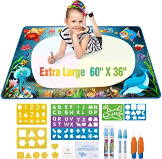 Aqua Doodle Mats Extra Large, No Mess Magic Water Drawing Pad, Educational Art Painting Board with Coloring, Marker Pens and Stencil Plates, Perfect Toy for Toddlers Kids Children, 60