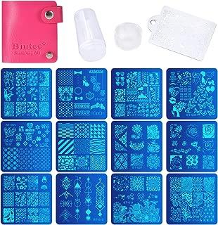 Nail Stamping Plates Set 12 pcs Nail Plates 1 stamper 1 scraper 1 storage bag Nail plate Template Image Plate Stencil Nails Tool