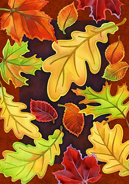 Toland Home Garden Leafy Leaves 28 X 40 Inch Decorative Fall Autumn Tree Leaf Collage House Flag