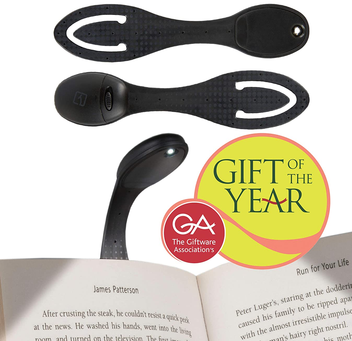 Reading Light for Books in Bed at Night. Bright LED Clip On Book Light & Bookmark. Booklights Make Great Birthday Gifts - Black
