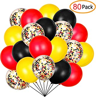 80 Pack Colour Balloons 12 Inch Red Black Yellow Latex Balloons Premium Helium Quality Sequins Balloon Kit for Baby Bbay Party Baby Shower Happy Theme Party Supplies