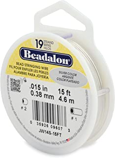"""Beadalon 19-Strand 0.015"""" (0.38 mm) 15 ft (4.6 m) Silver Color Bead Stringing Wire,"""