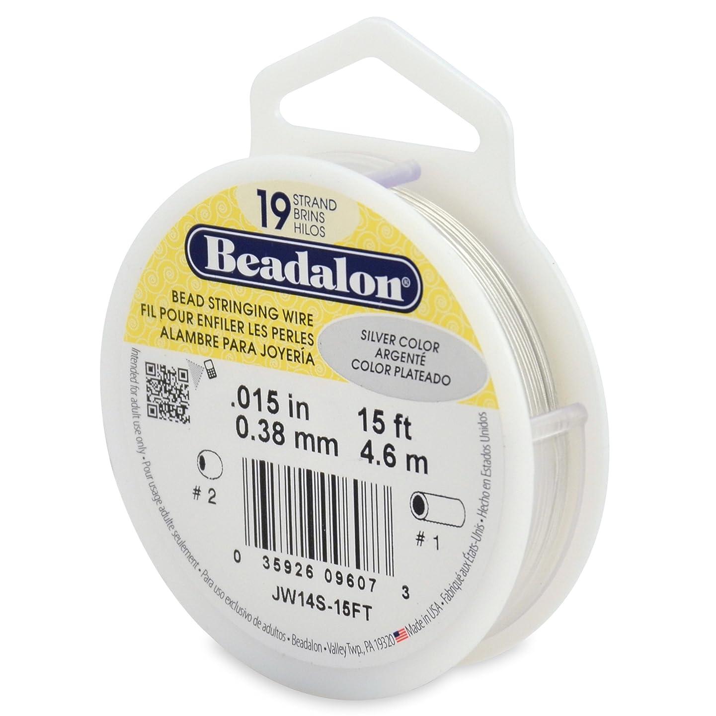 Beadalon 19-Strand Bead Stringing Wire, 0.015-Inch, Silver Color, 15-Feet