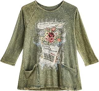 Jess & Jane Women's Dream of Paris Tunic - Green Raglan Sleeve Top with Pockets