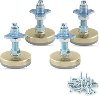 Heavy Duty Furniture Leveler Tee Nut Kit – Set of 4-3/8-16 Non-Skid Leg Levelers for Cabinets or Tables to Adjust Height of The Legs or Feet Jam Nuts to Stabilize Each Foot (Kit with Screw-on T-Nuts)