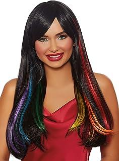 شعر مستعار نسائي طويل ومستقيم بلون أسود مخفي ومزين بقوس قزح من Dreamgirl ، متعدد الألوان، مقاس واحد
