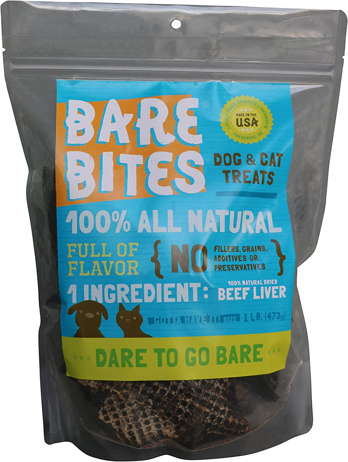 Bare Bites All Natural Dehydrated Beef Liver Dog Cat Treats (1 pound)