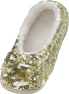 Snoozies Ballerina Bling Metallic Shine Womens Cozy Sequin Slippers