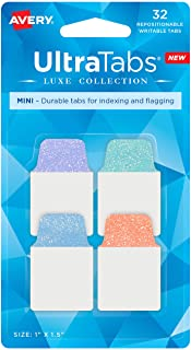 """Avery Mini Ultra Tabs, 1"""" x 1.5"""", Pastel Sparkle Shimmer Designs, 32 Repositionable Page Tabs (74149)"""