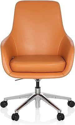 hjh OFFICE 600981 Silla ejecutiva BARENO Cuero Naranja Silla Alta Gama Buen Acolchado