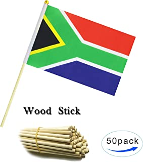 Wood Hand Held South Africa Flag South Africans Flag Stick Flag Small Mini Flag 50 Pack Round Top National Country Flags,Party Decorations Supplies For Parades,World Cup,Sports Events, Celebration