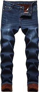 Men's Winter Fleece Lined Slim Fit Thick Elastic Jean Pants