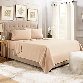 "Empyrean Bedding 14"" - 16"" Deep Pocket Fitted Sheet 4 Piece Set - Hotel Luxury Soft Double Brushed Microfiber Top Sheet - Wrinkle Free Fitted Bed Sheet, Flat Sheet and 2 Pillow Cases - Queen, Taupe"