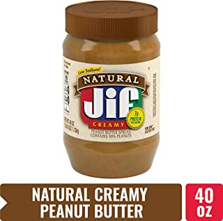 Jif Natural Creamy Peanut Butter, 40 oz. (Pack of 8) – 7g (7% DV) of Protein per Serving, Smooth, Creamy Texture – No Stir Natural Peanut Butter