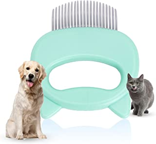 Green Massaging Grooming Safe&Gentle pet comb, Shell Soft Brush Grooming Undercoat Rake Dematting Tool for Cat Dog Puppy (...