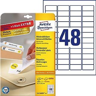 AVERY Zweckform L4736REV-25 Universal Etiketten 1.200 plus 240 Klebeetiketten extra, 45,7x21,2mm auf A4, wieder rückstandsfrei ablösbar/abziehbar, bedruckbar, selbstklebende Aufkleber 30 Blatt, weiß