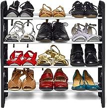 PU PUREUS Plastic Collapsible Shoe Stand (Black, 4 Shelves)