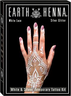 Body Art Temporary Tattoo Kit: White Lace & Silver Glitter Tattoo Set for Adults, Women, Girls & Teens - Custom DIY Body Paint Tattoo Kits for Professionals & Beginners - Make Your Own Fake Tattoos
