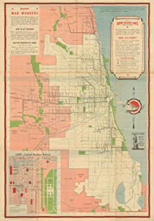 Historic Pictoric Map - Chicago Transit Maps, Rapid Transit Lines 1942 Railroad Cartography - Vintage Poster Art Reproduction - 24in x 18in