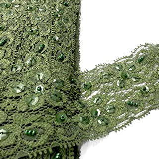"11 3//4/"" wide Forest Green Floral Lace by yard"