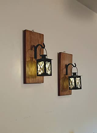 Rustic Wall Mounted Hanging Metal Lanterns With Lights, Set of 2, Rustic Home Decor