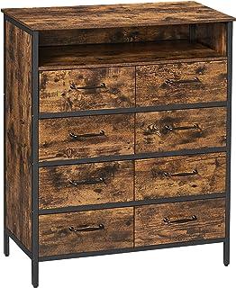 VASAGLE Commode en Tissu, Console Large 8 tiroirs, Meuble de Rangement vêtements, Cadre en métal, Surface boisée, pour Cha...