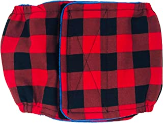 Barkertime Male Dog Diaper - Made in USA - Christmas Buffalo Plaid Washable Dog Belly Band Male Wrap for Territorial Marking, Excitable Peeing and Urinary Incontinence