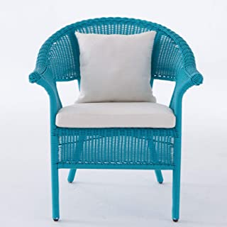 BrylaneHome Roma All-Weather Wicker Stacking Chair - Pool