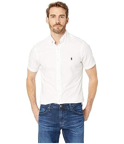 Polo Ralph Lauren Short Sleeve Solid Garment Dyed Oxford Classic Fit Sport Shirt (White) Men