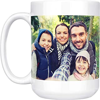 Customizable Mug - Easy to Create 15 oz. Coffee Mug Add Photo, Logo, or Text of Custom Mugs, Ceramic, Tazas Personalizadas, Monogram Novelty Mug, Great Gift Idea