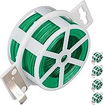 Relaxdays, Groene 5-delige set tuindraad 50 m, met kunststof ommantelde binddraad, voor planten, spoel met snijder, roestvrij