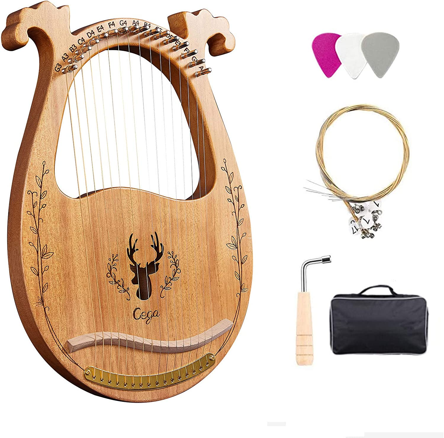 Lyre Harp 16 Metal String Mahogany Wood Solid Reservation wit Excellence