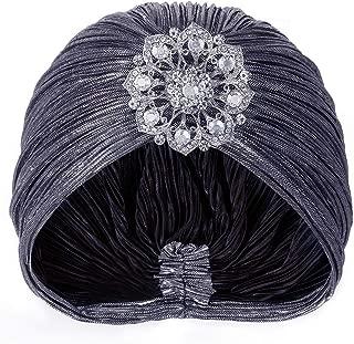 Women's Vintage Lurex Knit Turban Beanie Hats Headwraps for 1920s Cocktail Party