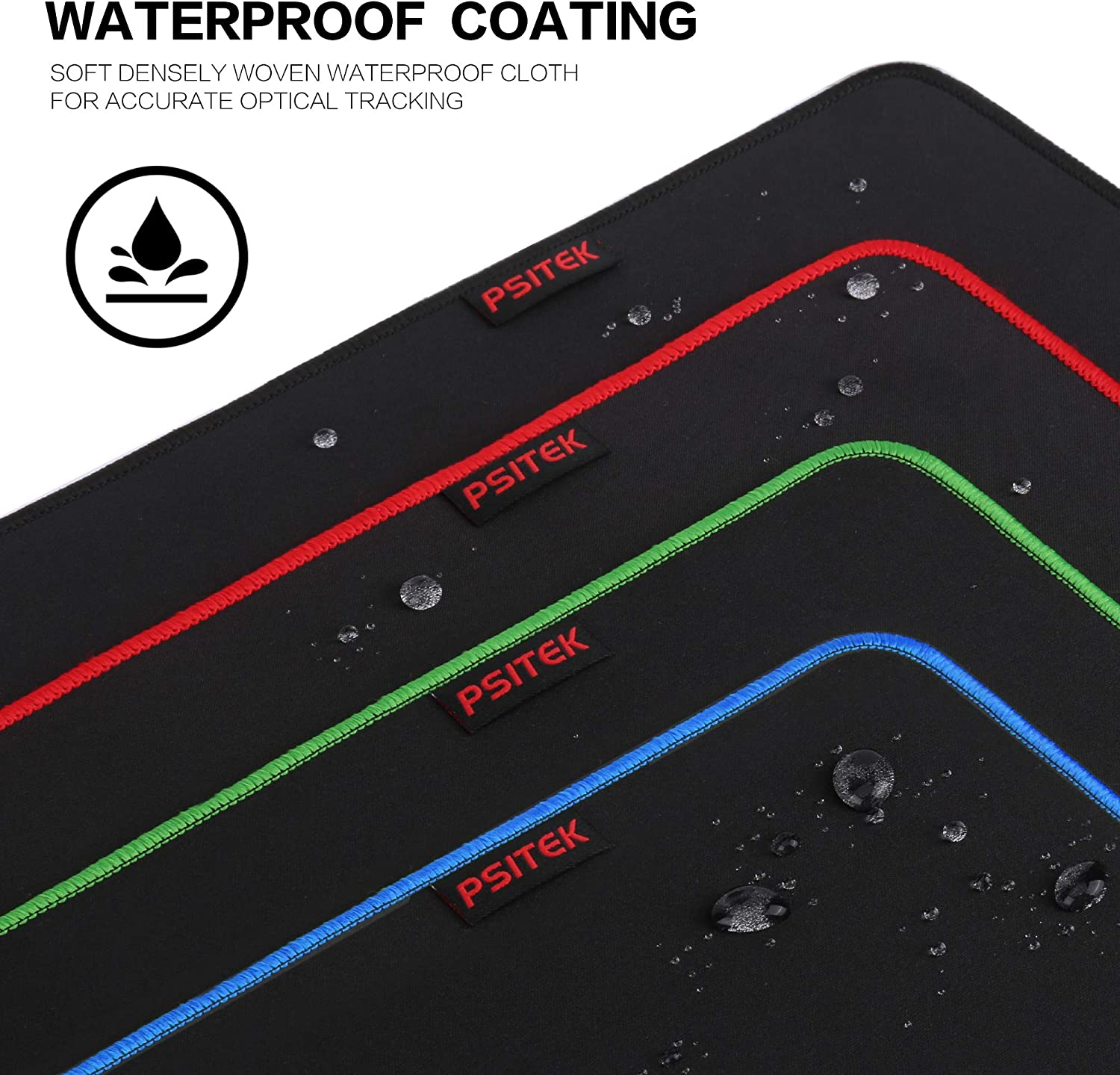 Durable Stitched Anti-Fray Edges Black Red and Green 3 Packs Psitek 10x8.5 Inches Large Gaming Mouse Pad Mousepad,Waterproof Cloth Surface Optimized for Precision