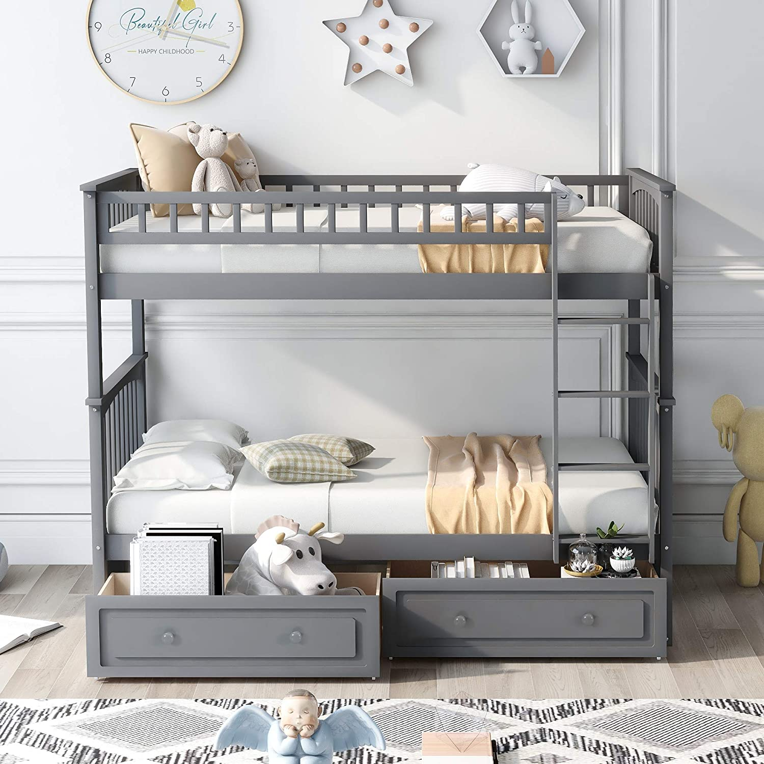Memphis Mall Bunk Bed for Kids Twin 2 Over Woode with Drawers El Paso Mall